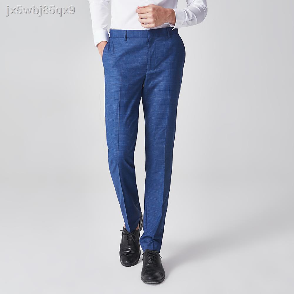 แฟชั่นผู้ชาย◆◕✟G2000 สูทผ้าโทเรลายตาราง (Slim Fit) รุ่น 9815003778 PEACOAT NAVY กางเกงขายาว