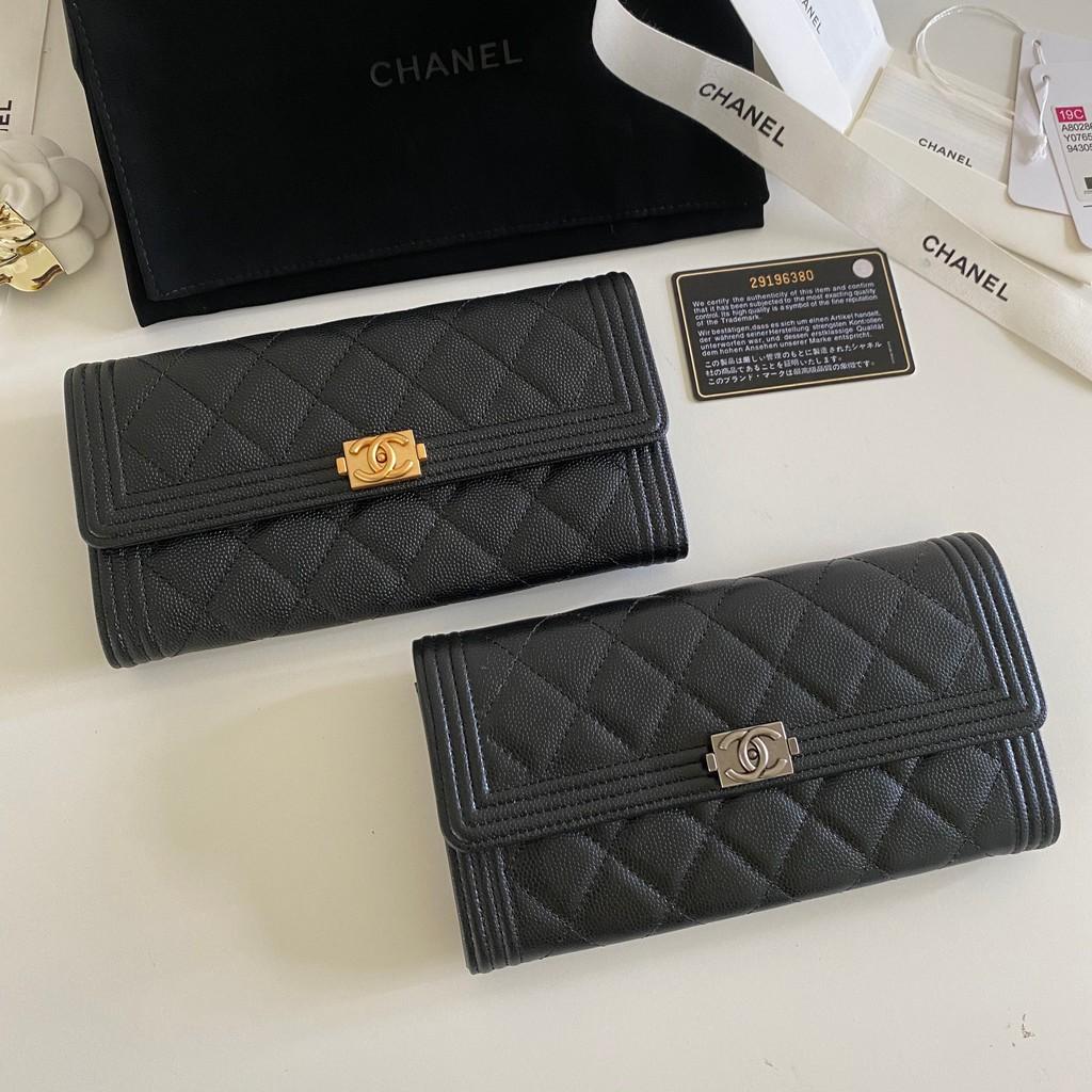 Chanel Boy Flap Long Wallet Caviar Skin Original Shw/Ghw