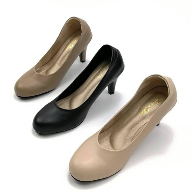 🏆ลงใหม่จ้า รองเท้าส้นเข็ม คัชชูหัวกลม วัสดุหนังนิ่ม สูง 3 นิ้ว มี 3 สี ครีม น้ำตาล ดำ