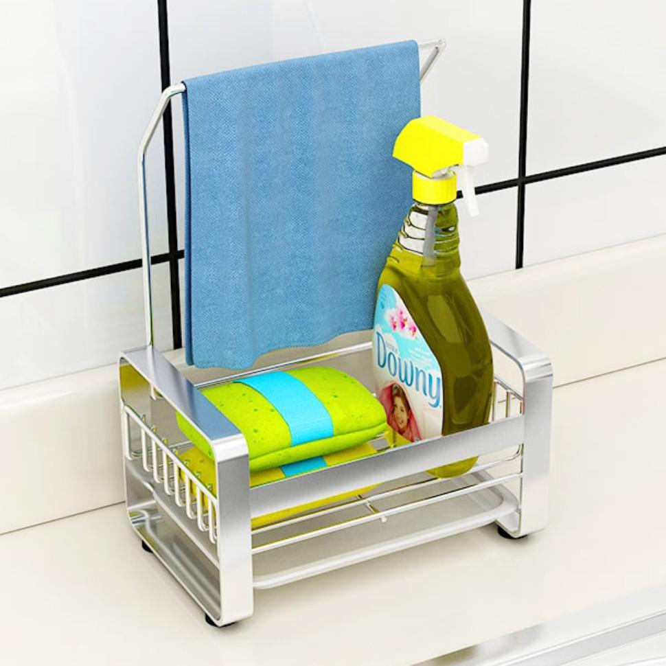 ที่วางของในห้องครัวและห้องน้ำ ที่วางขวดน้ำยาล้างจาน ที่วางฟองน้ำ ชั้นวางของในห้องครัวและห้องน้ำ ที่วางสบู่ อุปกรณ์จัดเก็