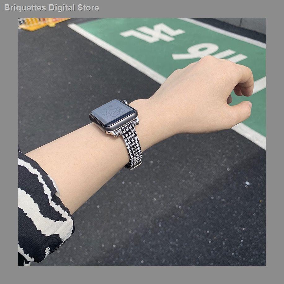 【อุปกรณ์เสริมของ applewatch】▪☒△ใช้ได้กับสาย Applewatch ผ้าใบ houndstooth เอวเล็กบางส่วน 1-6 รุ่น SE สาย Apple iwatch