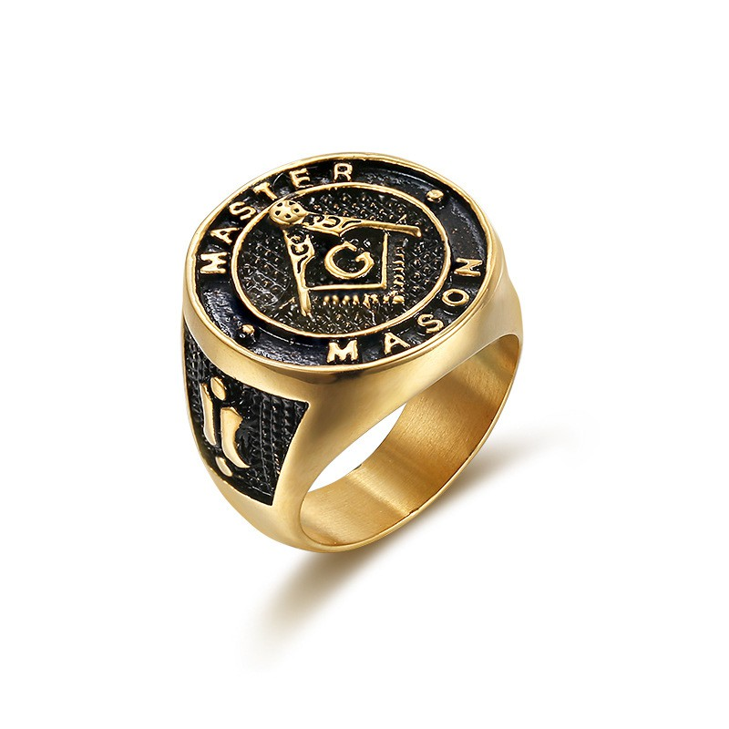 Men's Stainless Steel Masonic Freemason Rings Gold Ring แหวน