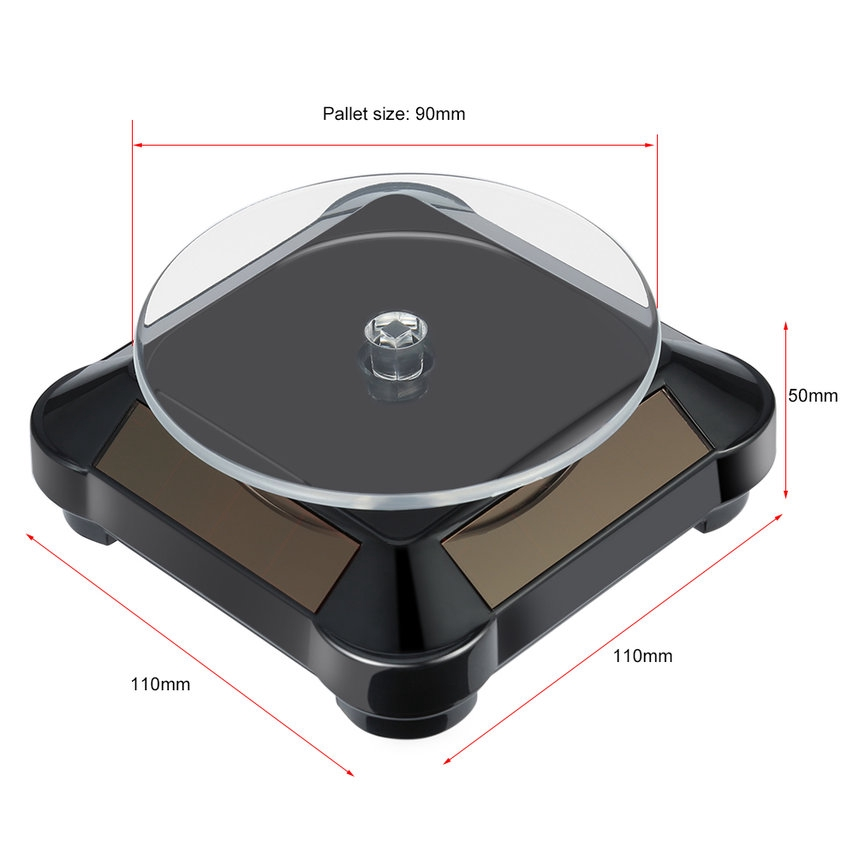 Black Solar Powered Jewelry 360° Rotating Display Stand Turntable with Light
