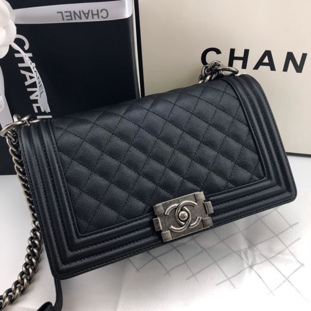 แพ็คเกจChanel Boy Soft Caviar Skin Cow Leather  Grade Original หนังแท้