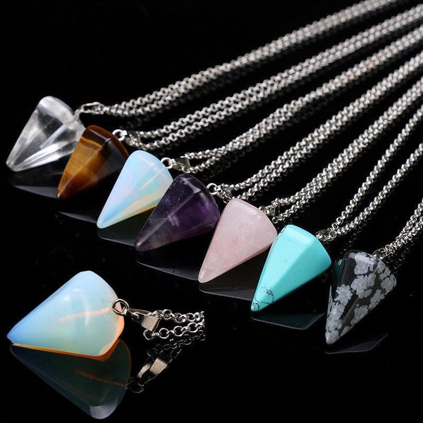 Natural Gemstones Crystal Hexagonal Healing Reiki Chakra Bead Pendant Necklace
