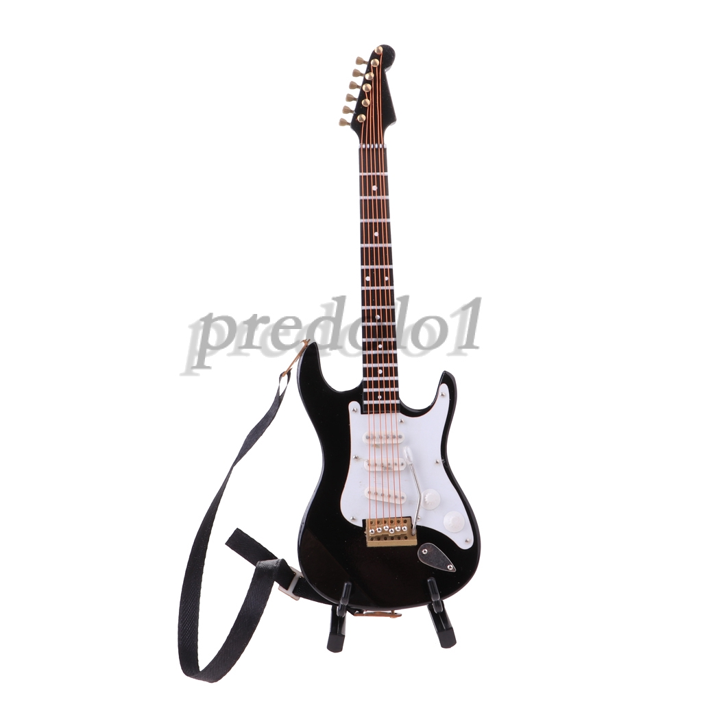 1//6 Scale Action Figures Dollhouse Electric Guitar Musical Model w Stand Box