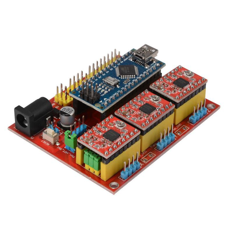 3D Printer Engraving Expansion Board Kit Controller CNC Shield V4+Nano 3.0 Board+A4988 Driver with USB Cable for Arduino