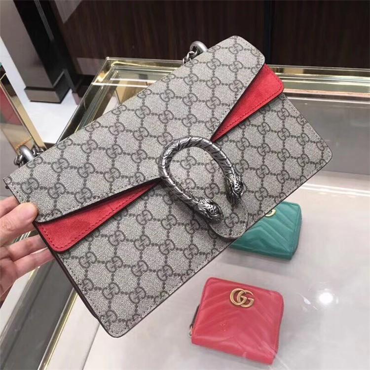 Gucciกระเป๋าผู้หญิงกุชชี่ไวน์คลาสสิกDionysusกระเป๋าโซ่ผ้าใบขนาดกลางกระเป๋าสะพายข้าง