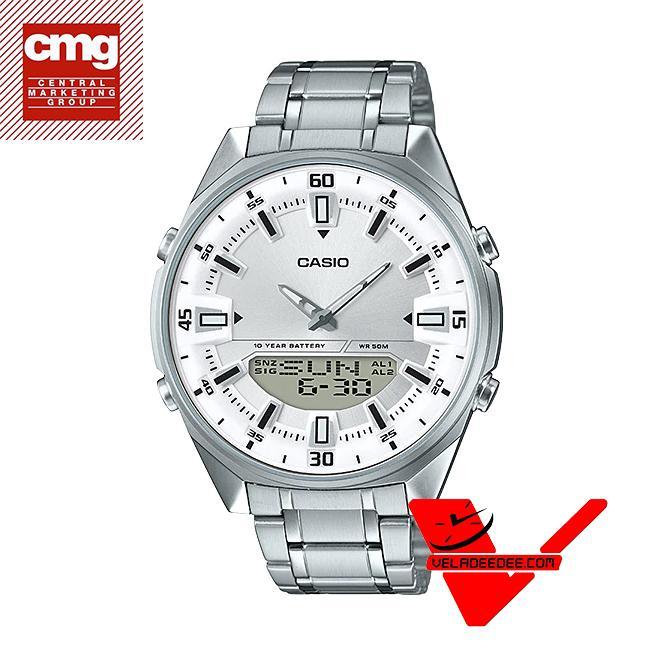Veladeedee นาฬิกา  Casio Standard นาฬิกาข้อมือชาย สายสแตนเลส รุ่น AMW-830D-7AV (ประกันCMG) jGfg
