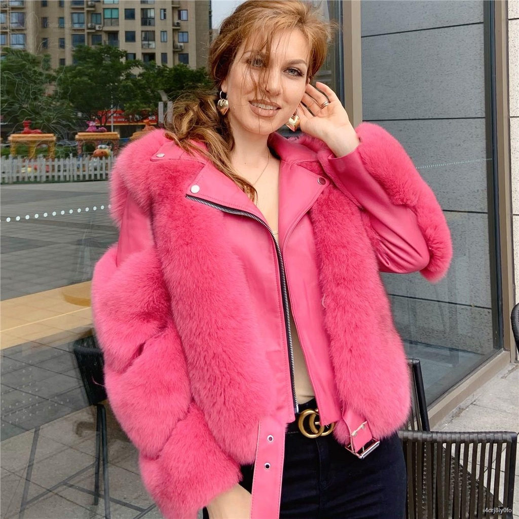 ◇Maylofuer Real Fox Fur Coat with Genuine Sheepskin Leather Jacket Long Sleeves 100% Natural Fox Fur Coats for Women Hot