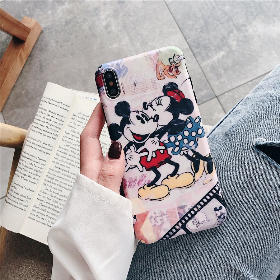 Image # 6 of Review เคสไอโฟน iPhone X XS Max XR iPhone 7 8 Plus iPhone 6 6S Plus Cartoon Mickey & Minnie Matte Soft Case