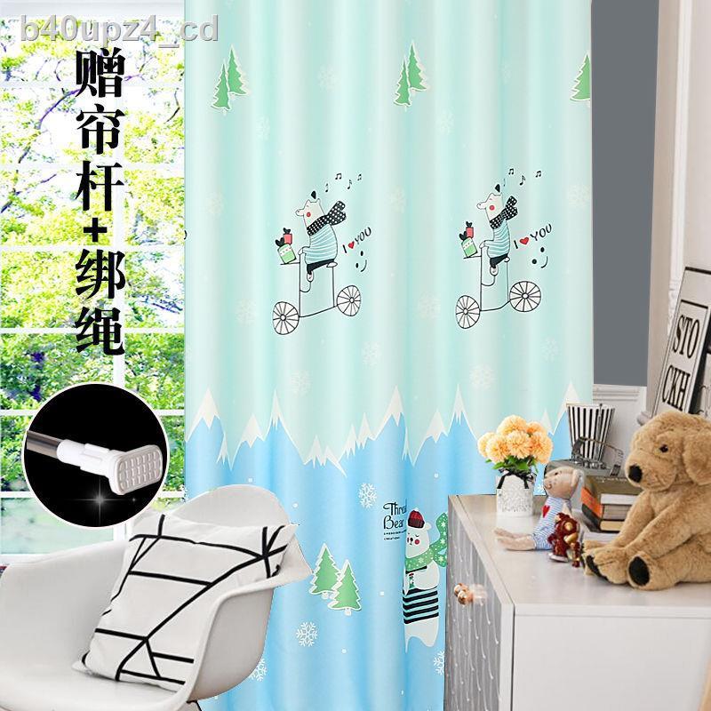 【สินค้าขายดี】﹉ผ้าม่านสำเร็จรูปห้องนอนแรเงาฟรีเจาะรูการ์ตูนสัตว์นอร์ดิกห้องเด็กชายและหญิงผ้าม่านสั้น