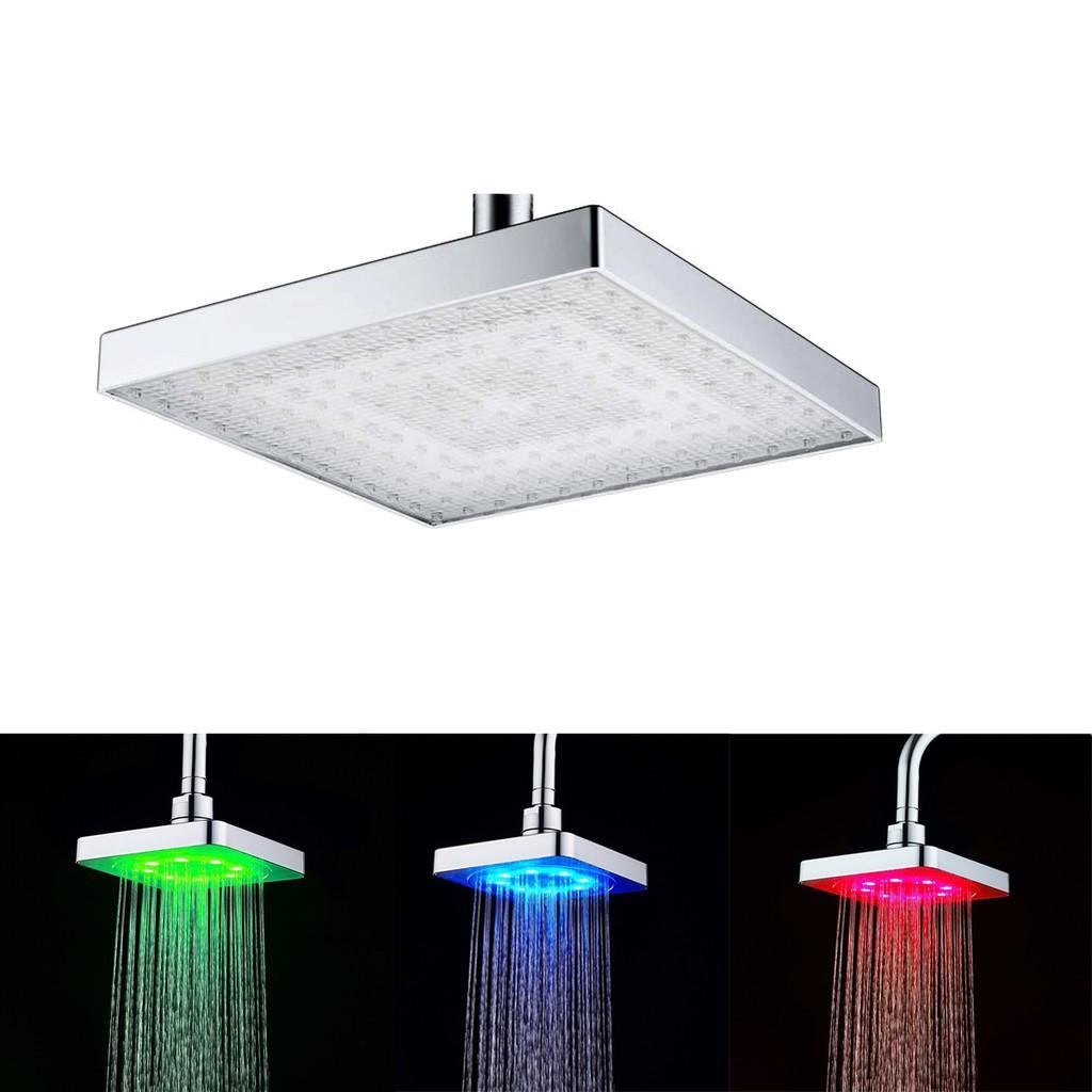 "8/"" Rain LED Shower Head Square Carbon Steel Ultra Thin Rainfall Overhead"