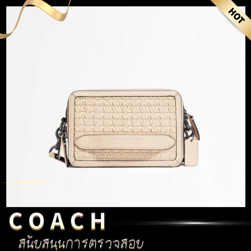 [ลดราคา KK & COACH] COACH Woven CHARTER Crossbody Bag Shoulder Bag กระเป๋าสะพายข้างกระเป๋าผู้หญิงA