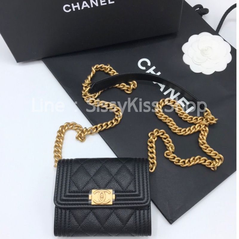 New Chanel Boy Cardholder XL With Chain Holo31