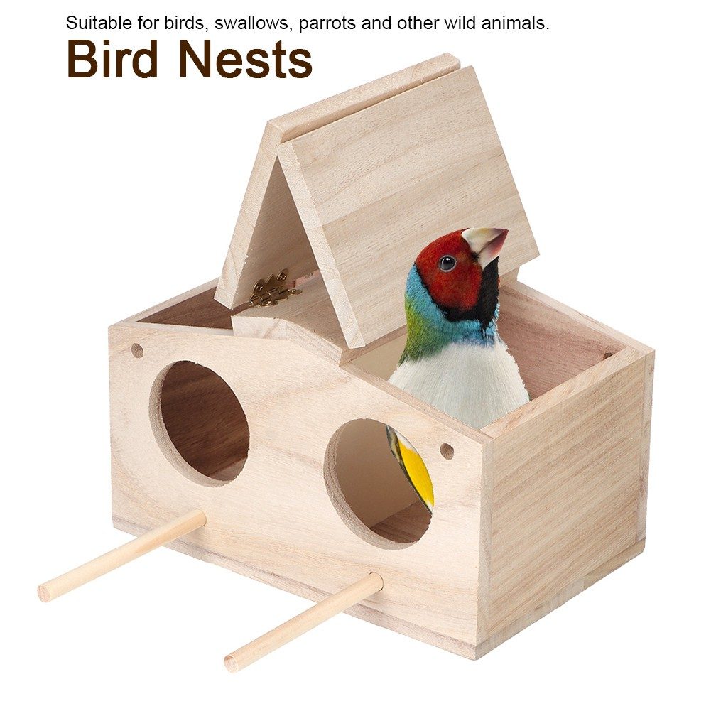 ☜❁❀สัตว์เลี้ยงนกกล่อง Sycamore ไม้รังสองประตูบ้านกรงเพาะพันธุ์ Birdhouse อุปกรณ์เสริมสำหรับนกแก้ว Swallows