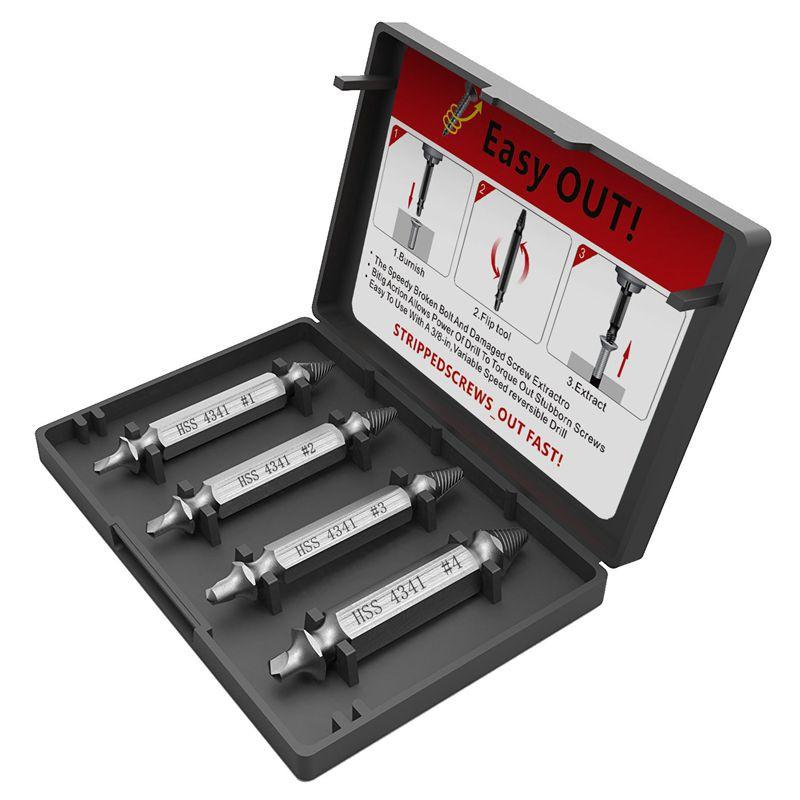 6 Pcs//set HSS 4341# Damaged Screw Extractor Drill Bits Stud Remover Tool Kit