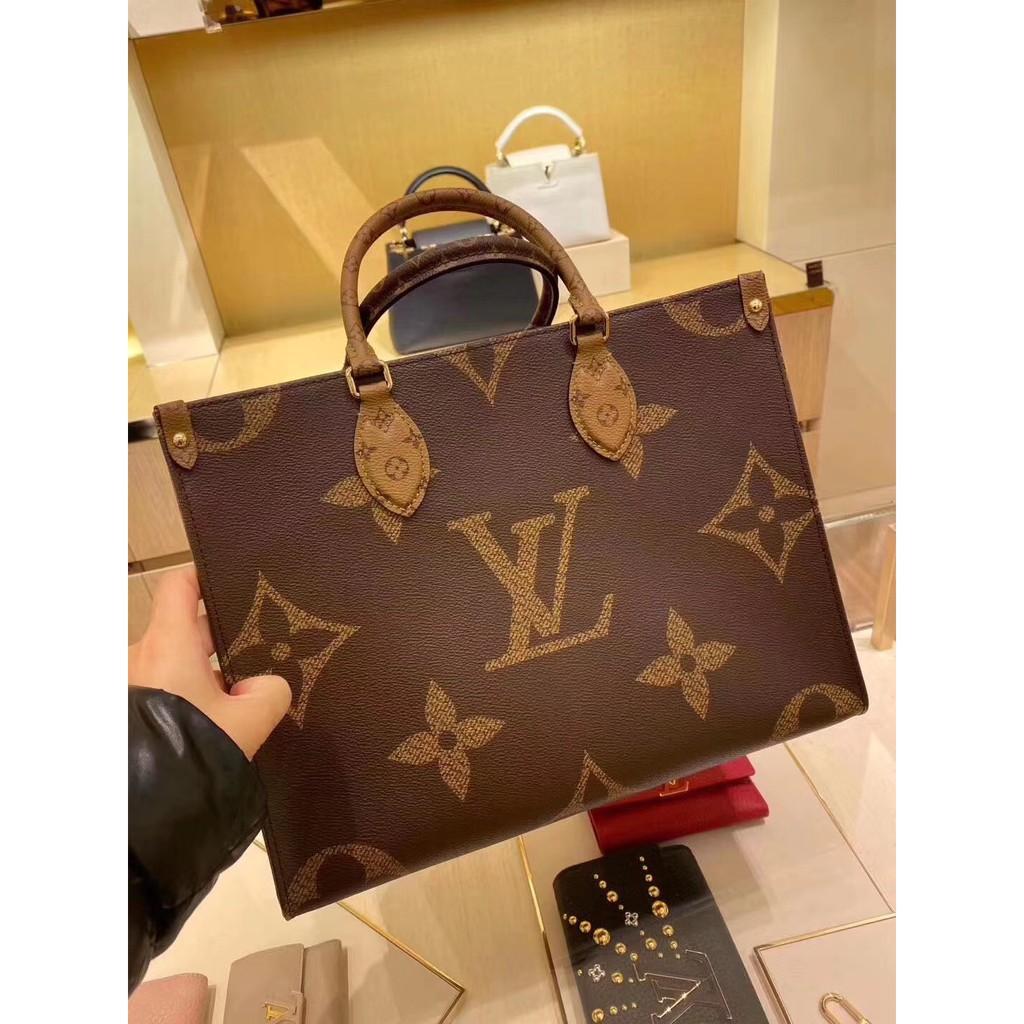 もぬกระเป๋ากระเป๋าเดินทาง  กระเป๋าเป้สะพายหลัง★★★❤🔥🔥Lv/Louis Vuitton onthego ดอกไม้เก่าจับคู่สีถุงช้อปปิ้งกระเป๋าโท้ทกระ