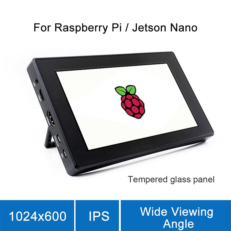 7 Inch HDMI LCD with Case 1024x600 Resolution Monitor Touch Screen Monitor With Case For Raspberry Pi 4B/3B+