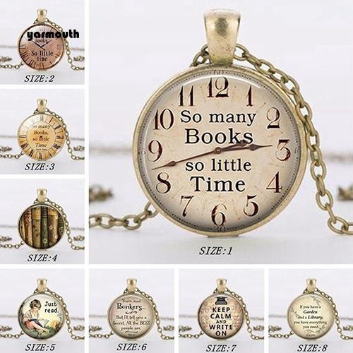 YAR_Glass So Many Books So Little Time Letter Pendant Necklace Jewelery Lover Gift