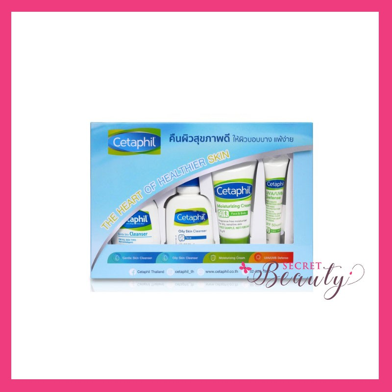 Cetaphil travel set - Gentle cleanser 29ml + Oily cleanser 29ml+ Moisturizer cream 15ml + UVA defen