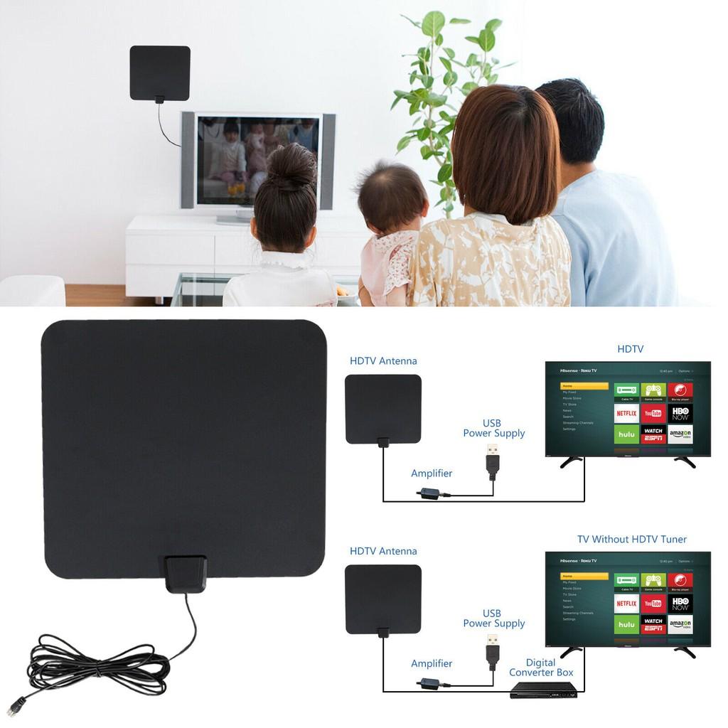 Flat HD Digital Indoor Amplified TV Antenna with Amplifier 350 Miles Range HDTV