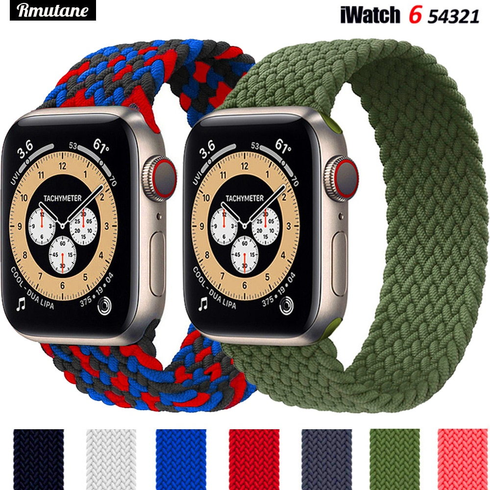 Braided Solo Loop For Apple watch band 44mm 40mm 38mm 42mm FABRIC Nylon Elastic belt bracelet iWatch series 3 4 5 se 6 s