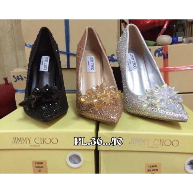 รองเท้า คัชชู ส้นสูง Jimmy Choo งานปั้มแบรนด์  งานคุณภาพดี ถ่ายจากสินค้าจริง พร้อมส่ง
