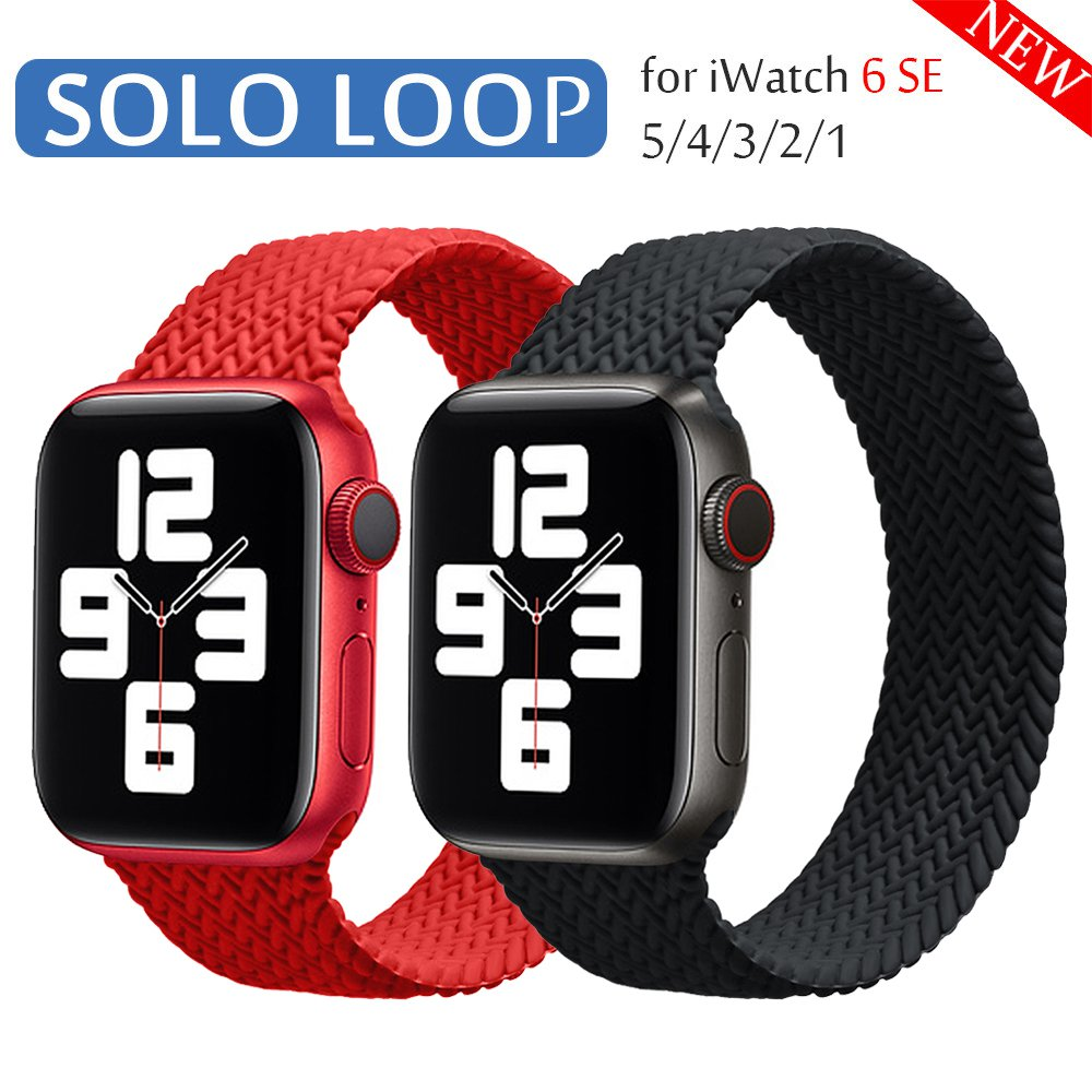 Braided Solo Loop silicone Strap For Apple Watch band 44mm 40mm 38mm 42mm Elastic Bracelet for iWatch Series 6 SE 5 4 3