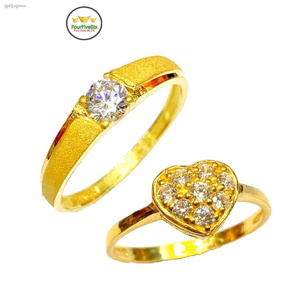ราคาต่ำสุด✵❦FFS แหวนทองครึ่งสลึง เพชรสวิสหัวใจ หนัก 1.9 กรัม ทองคำแท้96.5%
