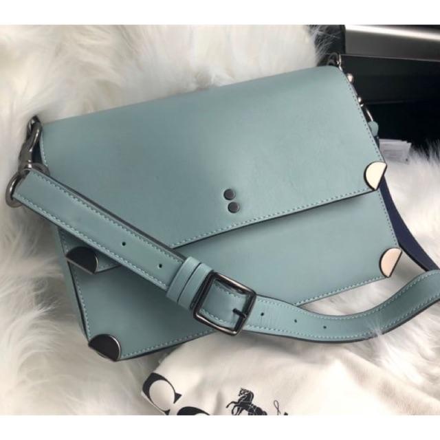 (ผ่อน0%) กระเป๋า สะพายข้าง หนังแท้ สีฟ้า Coach Cooper Shoulder Bag  Style No. 38660 งานshop