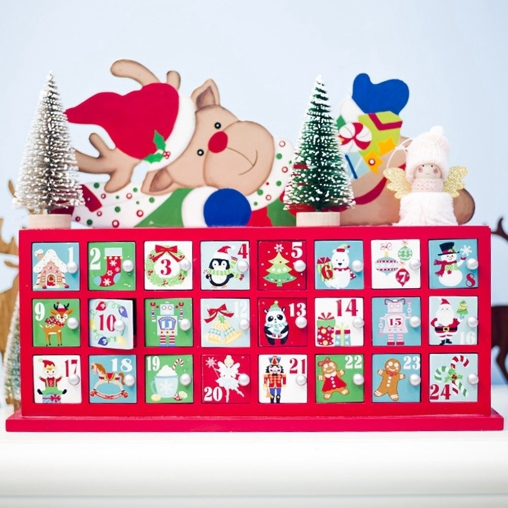 HOT DIY Wooden Christmas Advent Calendar With Small Drawer For Xmas Decoration