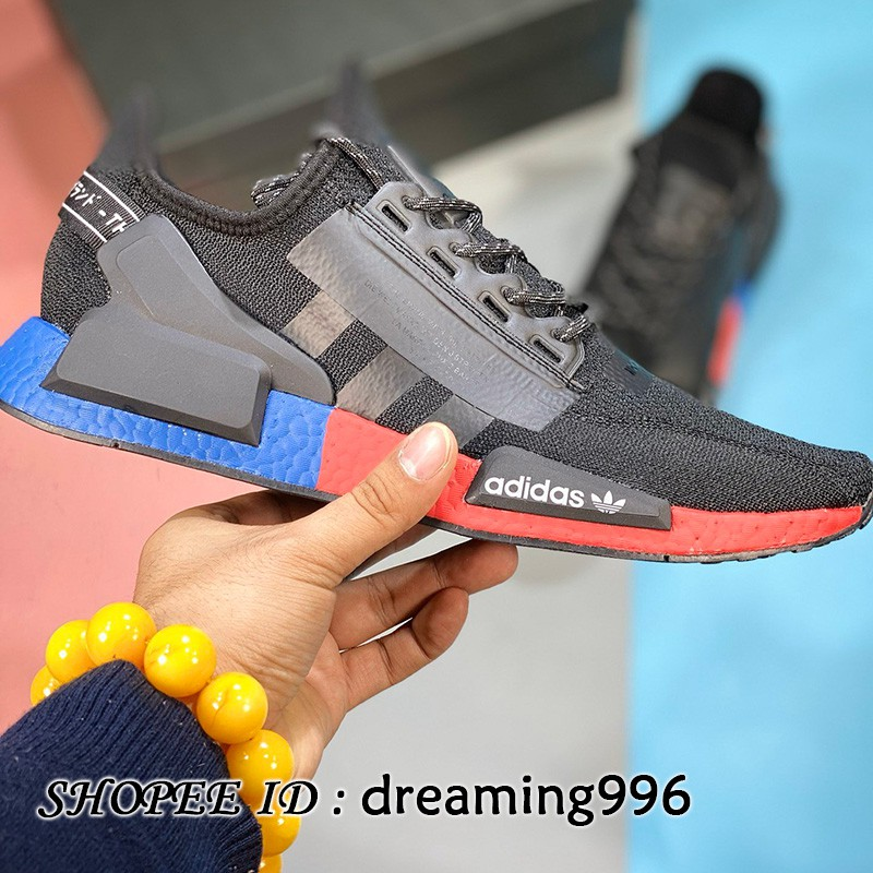 Adidas Nmd R 1 V 2 Og รองเท้าผ้าใบลําลองเหมาะกับการวิ่งเล่นกีฬาสีฟ้าแดง