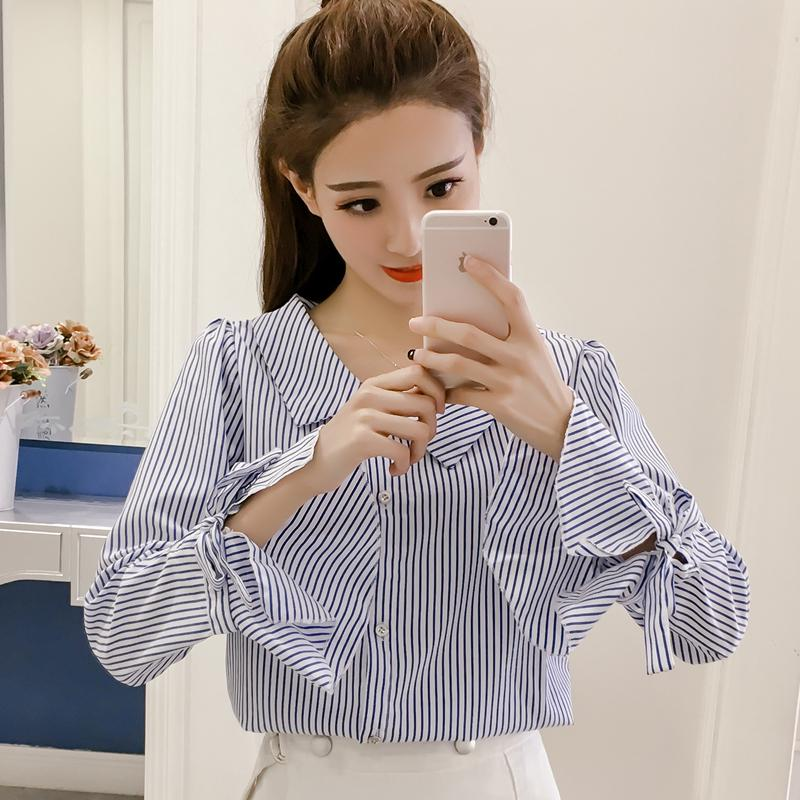 Review Summer Fashion Casual New Korean Version Loose Long Sleeve Top Stripe Women's Shirt Woman Blouse