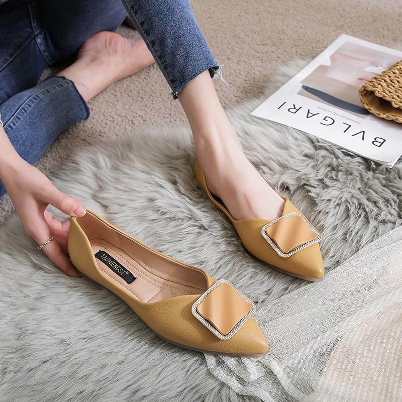 ฤดูใบไม้ผลิปี 2021 รองเท้าคัชชูส้นเตี้ยแบบใหม่สำหรับผู้หญิง, รองเท้าถั่ว, รองเท้าคุณยายส้นแบนสตรี