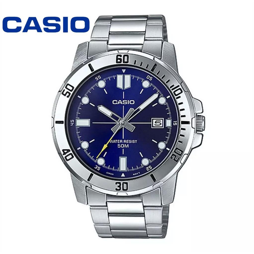 Casio Standard นาฬิกาข้อมือสุภาพบุรุษ สายสแตนเลส รุ่น MTP-VD01D