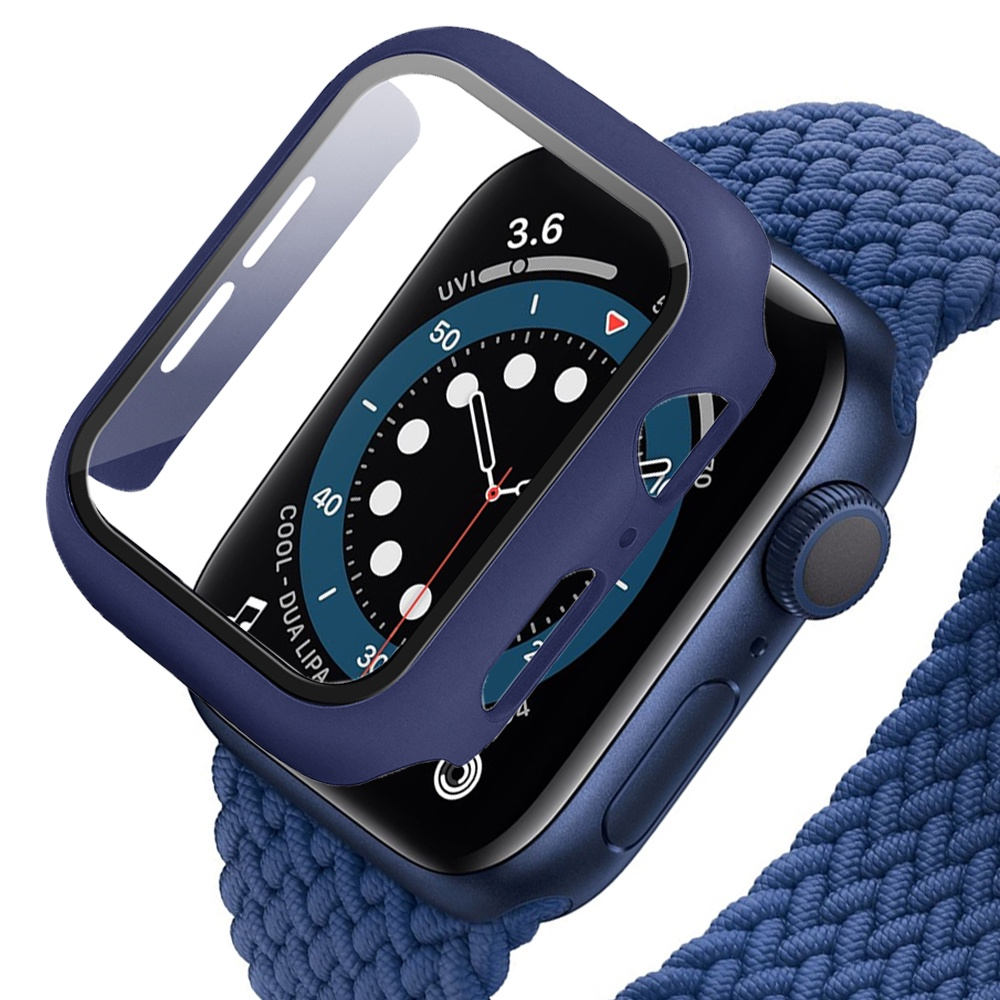 【Ready Stock 】 For apple watch 6 SE 5 4 3 2 1 case 44mm 40mm 38mm 42mm Built-in Tempered Glass screen protector for iwatch full coverage Protective shell cases