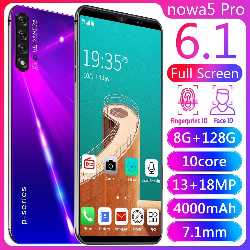 Nowa5pro Android สมาร์ทโฟนเต็ม 6.1นิ้วโทรศัพท์มือถือ ปลดล็อคใบหน้า 6GB + 128GB 10 Core Dual SIM