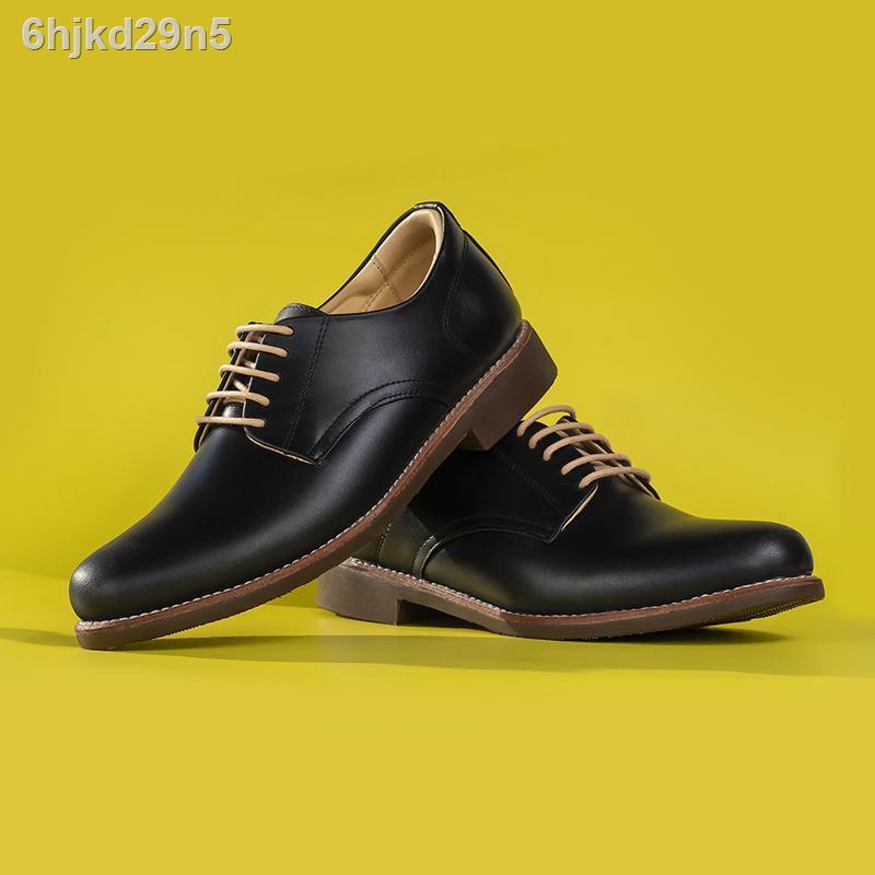 【ขายร้อน】■StepPro รองเท้าหนังแท้คัชชูผู้ชายหุ้มส้นแบบเชือกหนังออยสีดำ Derby Shoes Code 911
