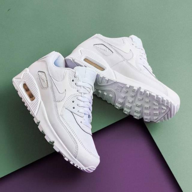 ไนกี้แอร์MAX 90 Essential Triple White Airmaxรองเท้าเต็มทั้งหมด