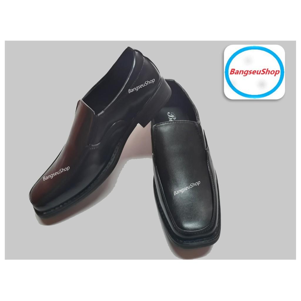 รองเท้าฟิตเนสเกาหลี。 รองเท้าหนังผู้ชาย รองเท้าคัชชู พื้นเย็บ สีดำ