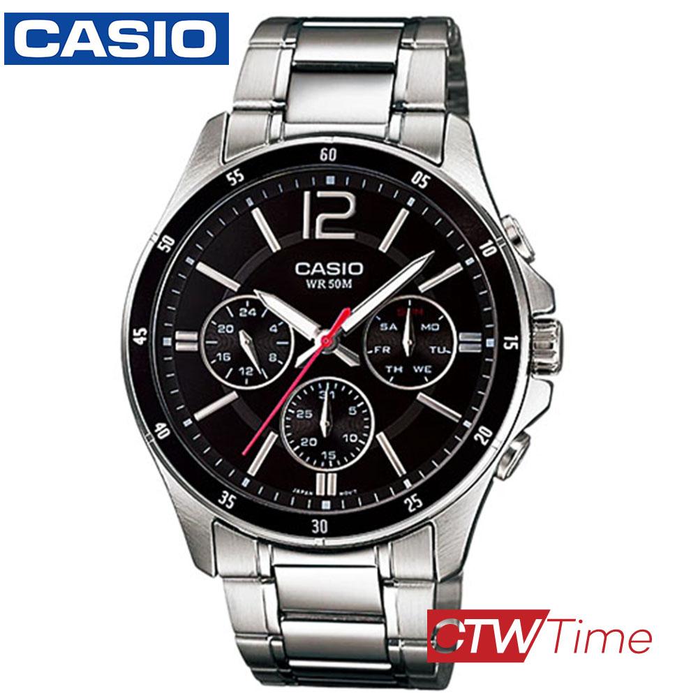 ส่งฟรี !! Casio Standard นาฬิกาข้อมือสุภาพบุรุษ สายสแตนเลส รุ่น MTP-1374D-1AVDF (หน้าปัดดำ) 69Rs