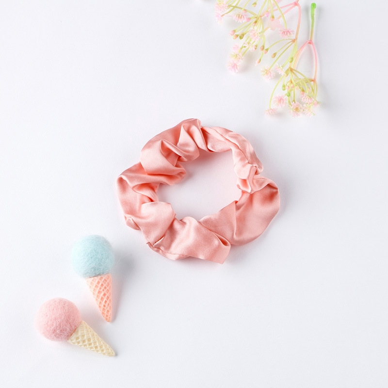 A Cream Bow Flower Print Silky Mini Scrunchie Ponytail Band Bobble