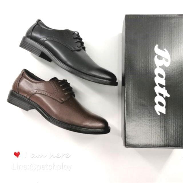 □(4112-6112) Bata รองเท้าหนังคัชชูผู้ชาย ยี่ห้อบาจา สีดำ, น้ำตาล เบอร์ 5-11 (38-46) รุ่น 821-4112 , 821-6112