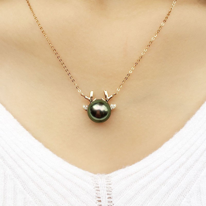 ♞LOPHELIA Tahiti สร้อยคอจี้มุกสีดำทอง 18K ให้แฟนภรรยากวาง , ของขวัญคริสต์มาส, หญิง