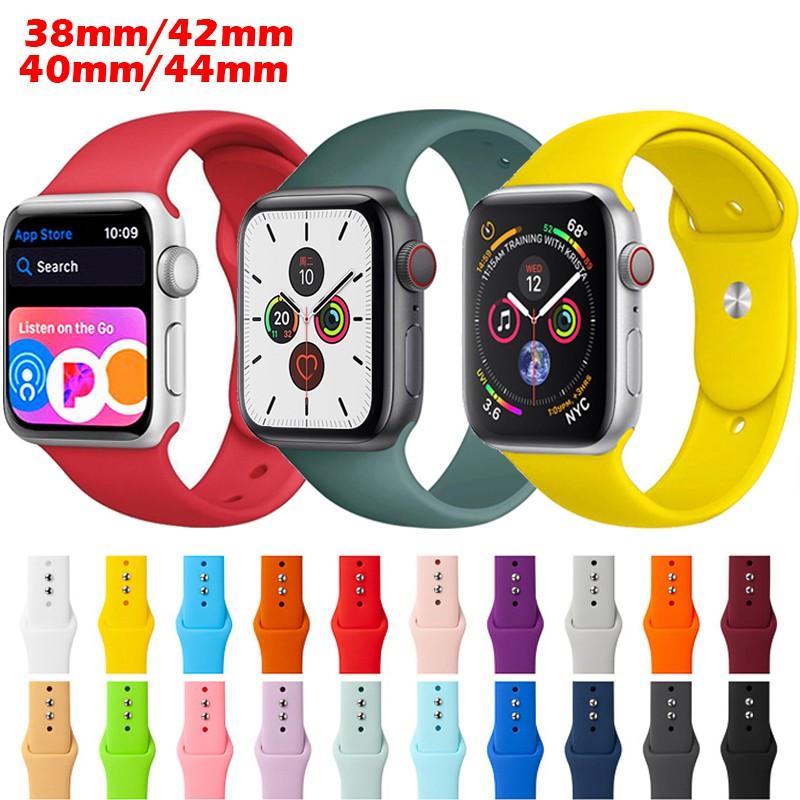 สายนาฬิกาข้อมือ Apple Watch 5 Band 38มม 42มม 40มม 44มม  Sport Silicone Strap for iWatch Series 5 4 3 2 1