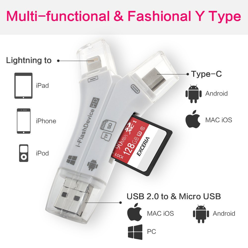 exFAT Micro SD SDHC TF Card Reader For iPad iPhone X 8 7 6S 6 Plus Android OTG