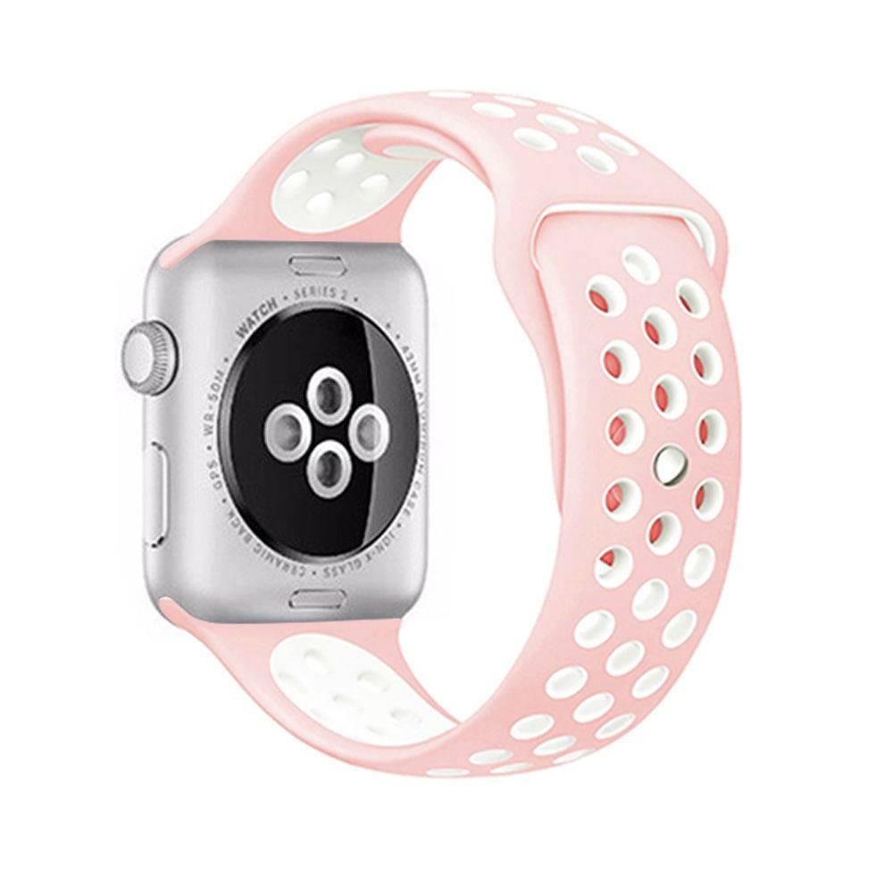 💥 สาย applewatch 🔥 Applewatch เหมาะสำหรับสายกีฬาซิลิโคนเหลวสองสี iwatch1 ~ 5 รุ่น unisex ของ Apple