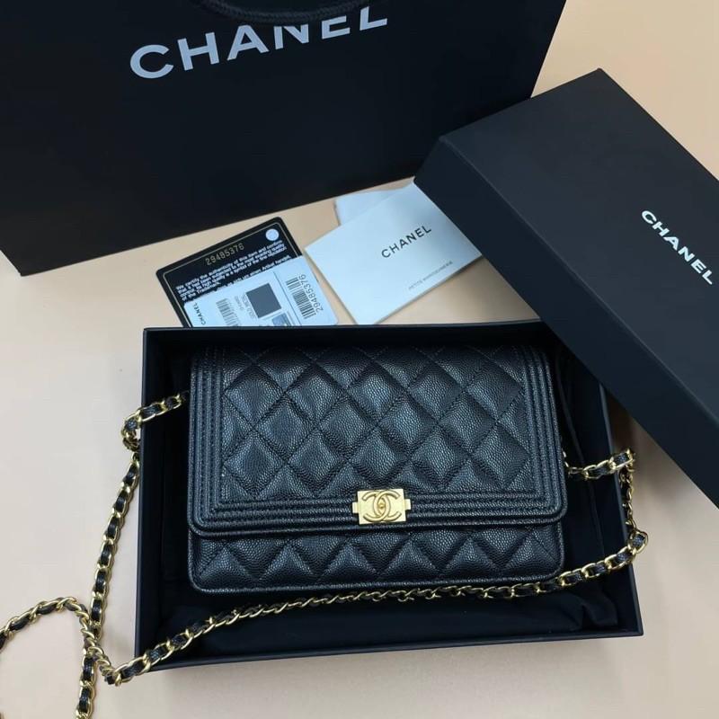 Chanel woc boy สีดำ อะไหล่ทอง