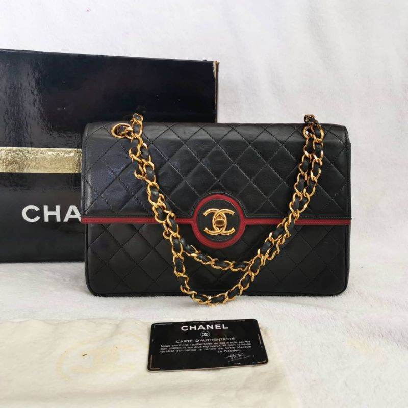 Very Rare Vintage 80's CHANEL 2.55 or Classic Flap  Bag Twotone  Lambskin  size10inch